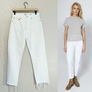 RE/DONE High Rise Stove Pipe White Raw Hem Jeans